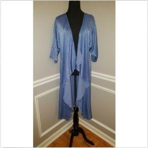 Lularoe Blue Shiny Sheen Long Flowy Shirley Kimono